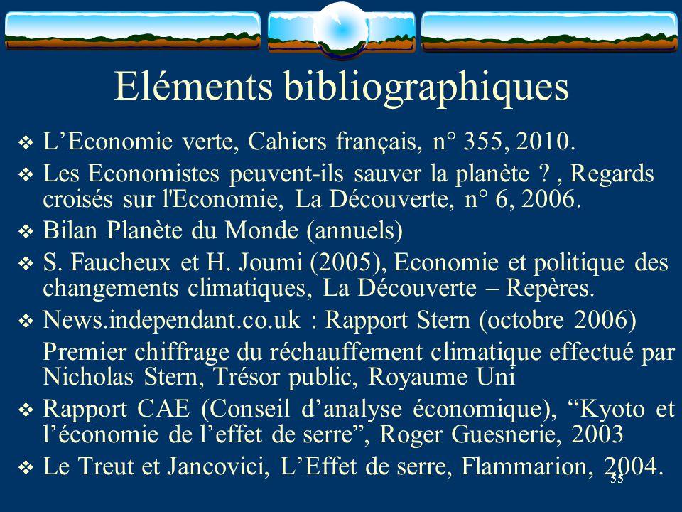 55 Eléments bibliographiques  L'Economie verte, Cahiers français, n° 355, 2010.  Les Economistes peuvent-ils sauver la planète ?, Regards croisés su