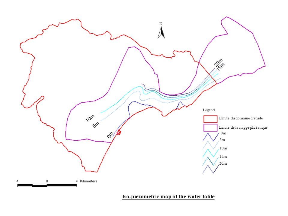 Iso-piezometric map of the water table Limite du domaine d'étude Limite de la nappe phréatique Legend 0m 5m 10m 15m 20m N