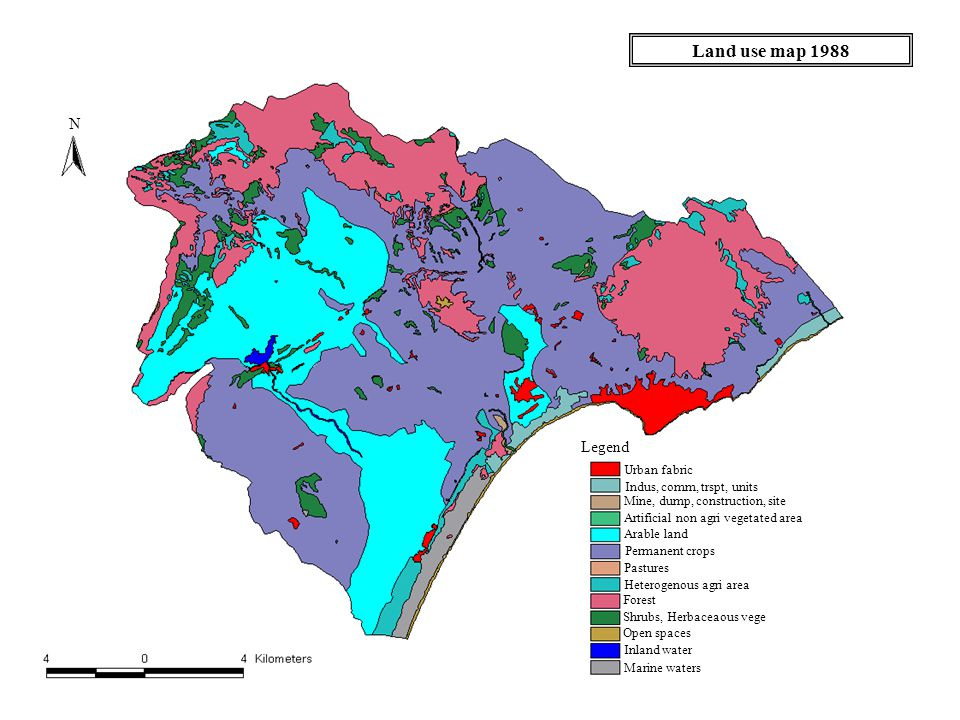 Land use map 1988 Legend Urban fabric Indus, comm, trspt, units Mine, dump, construction, site Artificial non agri vegetated area Arable land Permanent crops Pastures Heterogenous agri area Forest Shrubs, Herbaceaous vege Open spaces Inland water Marine waters N