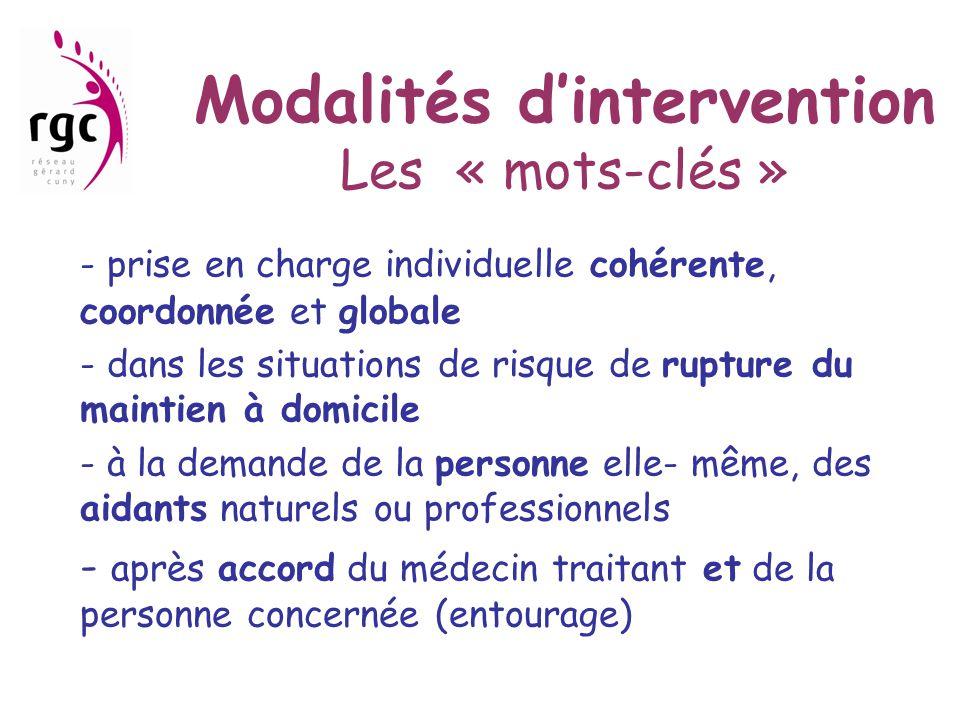 Modalités d'intervention Les « mots-clés » - prise en charge individuelle cohérente, coordonnée et globale - dans les situations de risque de rupture