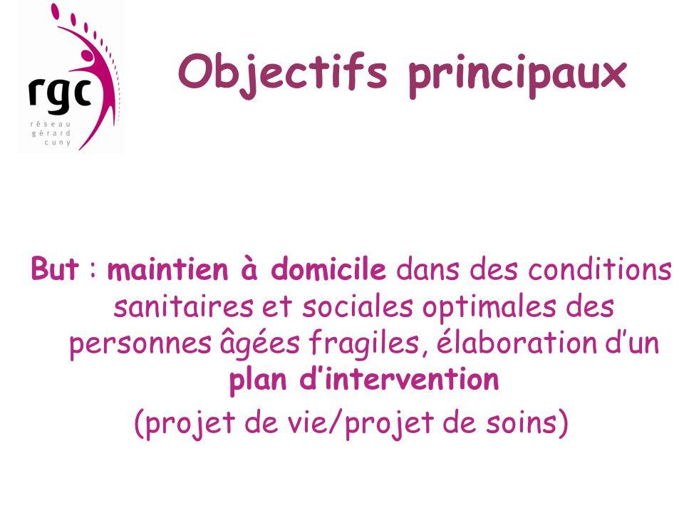 Objectifs principaux But : maintien à domicile dans des conditions sanitaires et sociales optimales des personnes âgées fragiles, élaboration d'un pla
