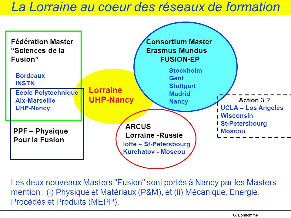 G. Bonhomme Les masters « Fusion » à Nancy L'Université Henri Poincaré est la seule université française engagée à la fois dans : - un master national