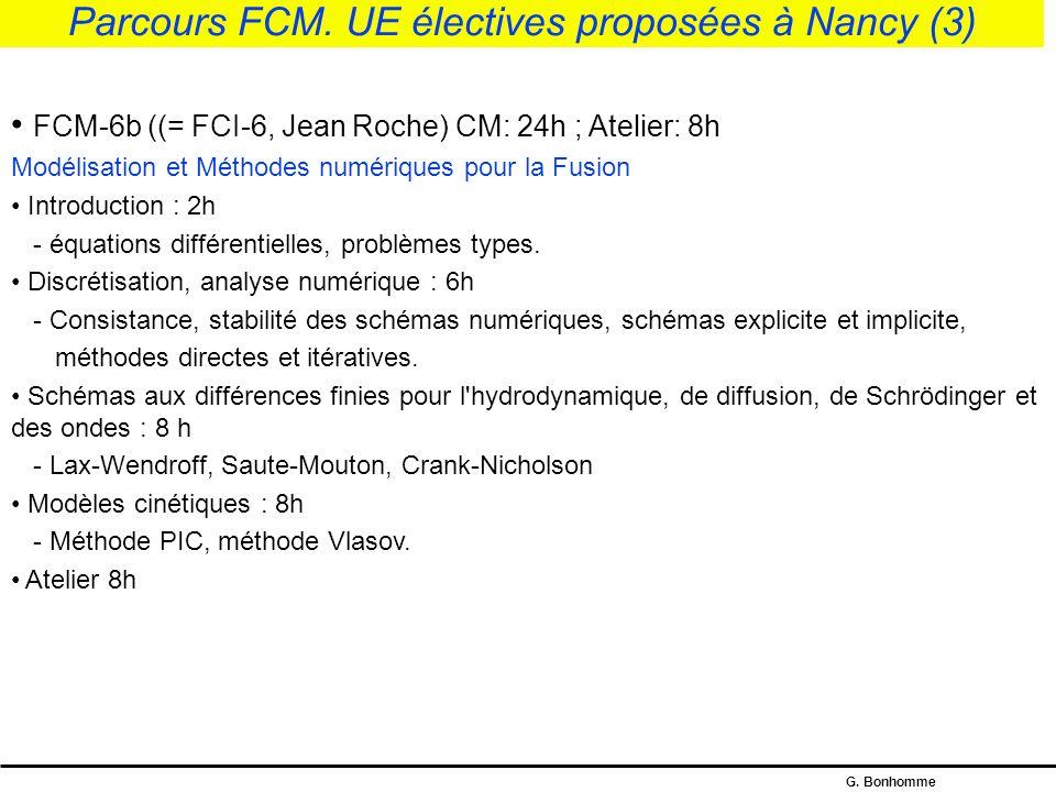 G.Bonhomme Parcours FCM et FCI.