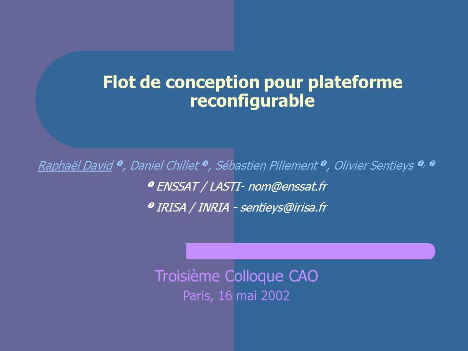 2 Flot de conception pour plateforme reconfigurable Introduction Une architecture enfouie reconfigurable dynamiquement : DART Méthodologie de développement Conclusions et perspectives