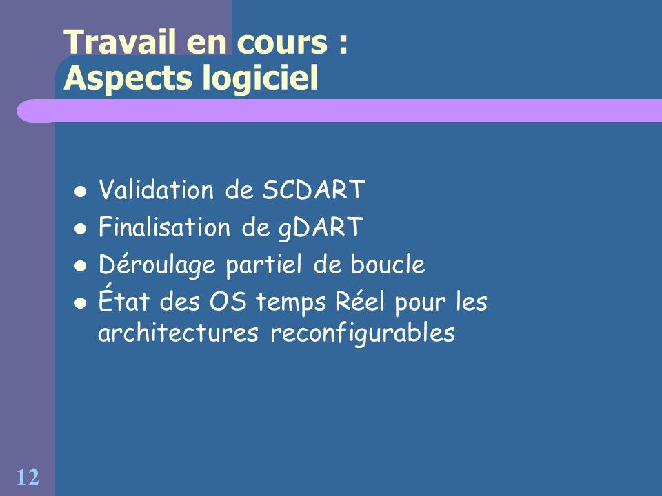 12 Travail en cours : Aspects logiciel Validation de SCDART Finalisation de gDART Déroulage partiel de boucle État des OS temps Réel pour les architec