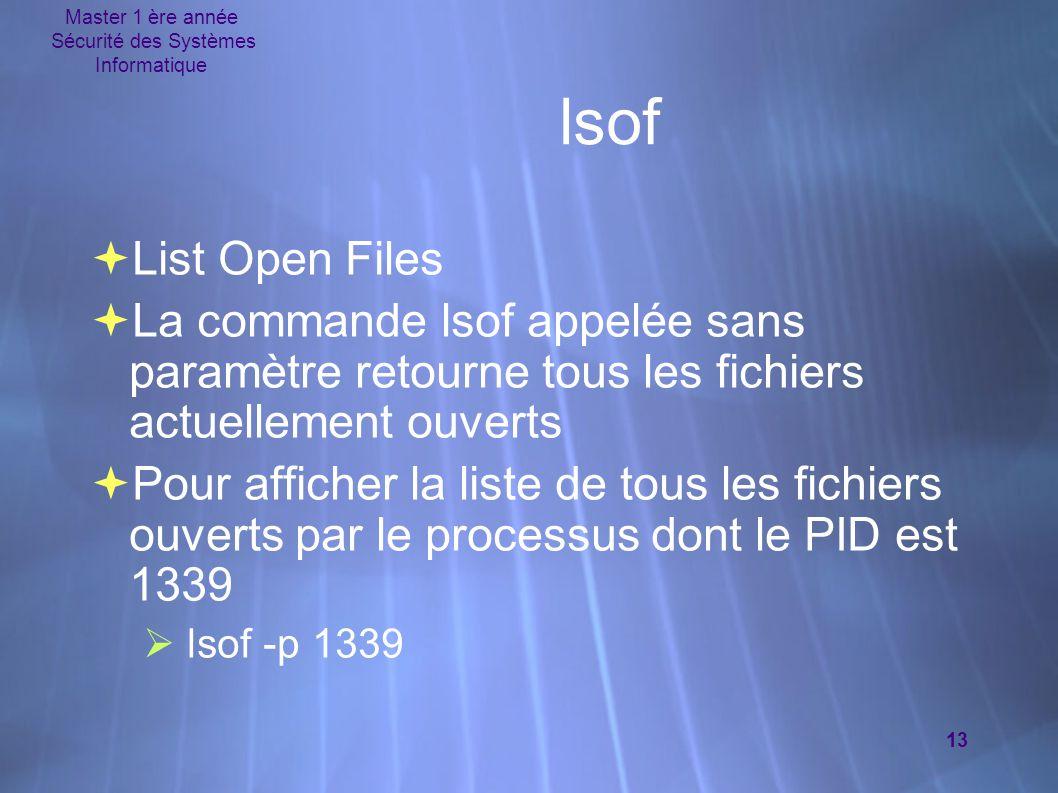 Master 1 ère année Sécurité des Systèmes Informatique 13  List Open Files  La commande lsof appelée sans paramètre retourne tous les fichiers actuel