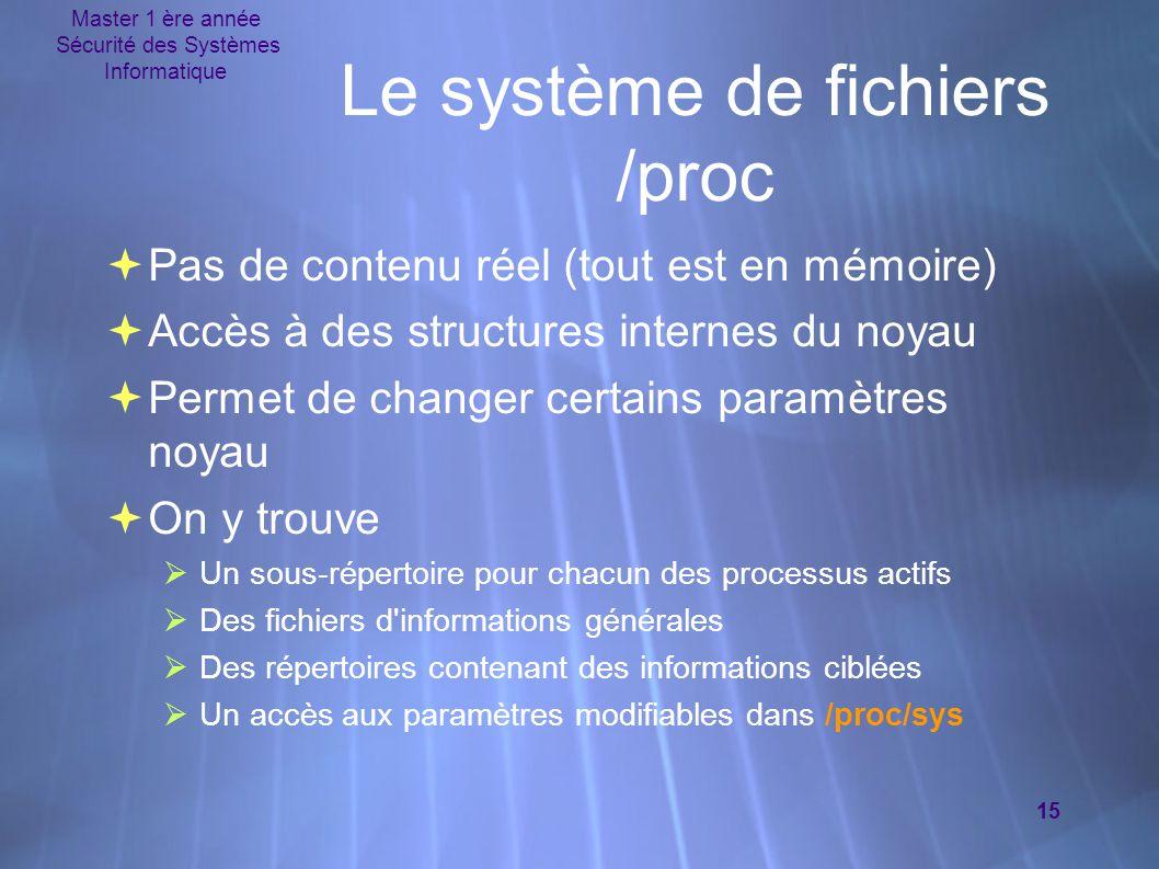 Master 1 ère année Sécurité des Systèmes Informatique 15 Le système de fichiers /proc  Pas de contenu réel (tout est en mémoire)  Accès à des struc