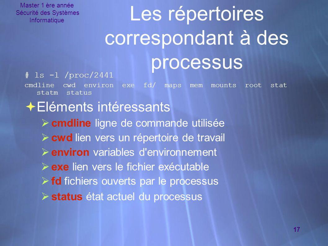Master 1 ère année Sécurité des Systèmes Informatique 17 Les répertoires correspondant à des processus # ls -l /proc/2441 cmdline cwd environ exe fd/