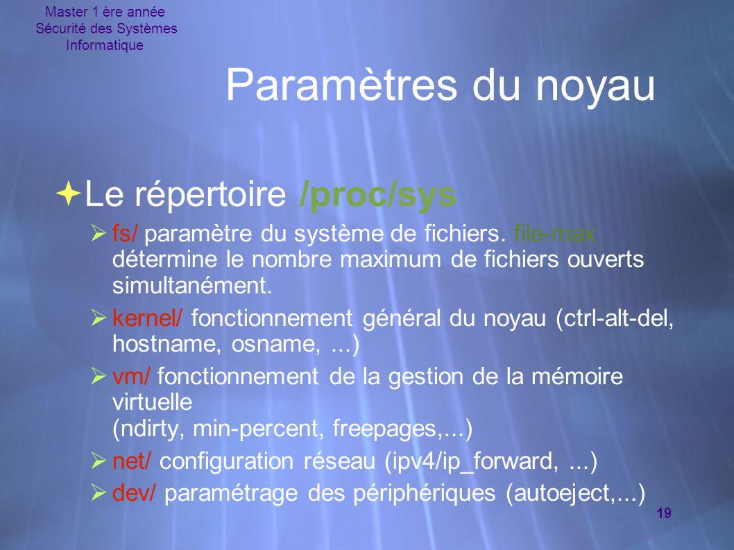 Master 1 ère année Sécurité des Systèmes Informatique 19 Paramètres du noyau  Le répertoire /proc/sys  fs/ paramètre du système de fichiers. file-ma