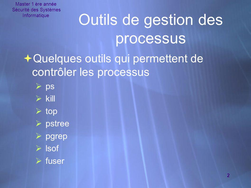 Master 1 ère année Sécurité des Systèmes Informatique 3 Outils de gestion des processus  ps – afficher l'état des processus en cours d'exécution  Style POSIX  ps aux  Style BSD (Berkeley Software Distribution)  ps -ef