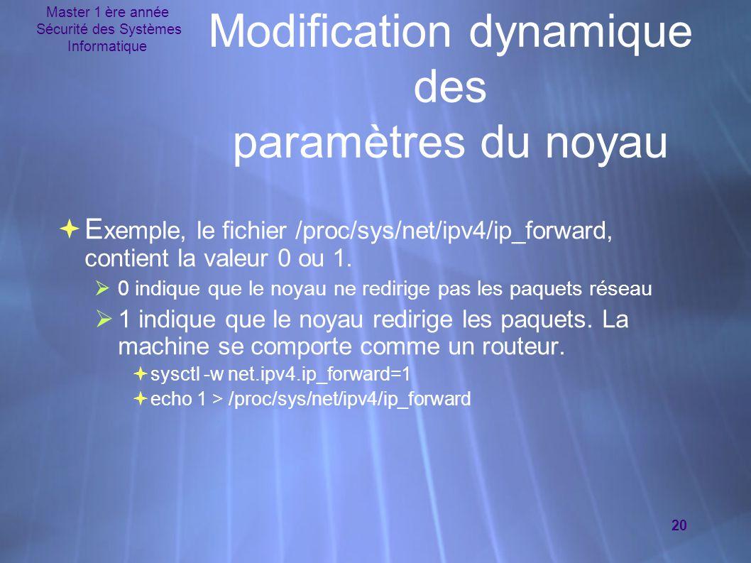 Master 1 ère année Sécurité des Systèmes Informatique 20 Modification dynamique des paramètres du noyau  E xemple, le fichier /proc/sys/net/ipv4/ip_f