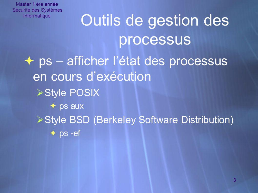 Master 1 ère année Sécurité des Systèmes Informatique 3 Outils de gestion des processus  ps – afficher l'état des processus en cours d'exécution  St