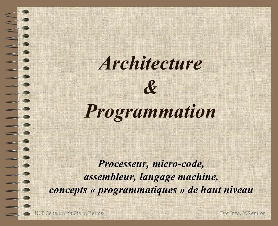 IUT Léonard de Vinci, ReimsDpt Info, Y.Remion Architecture & Programmation, 32 Instructions LMExécution prog LMLe Micro-processeur µ-code & prog LM structures des LM architecture du µ-code et même de : Langage machine 1 adresse on utilise un registre dédié pour toutes les adresses manquantes : a = bacc=b ; a = acc; a = b+c acc=b ; acc += c ; a = acc Accumulateur