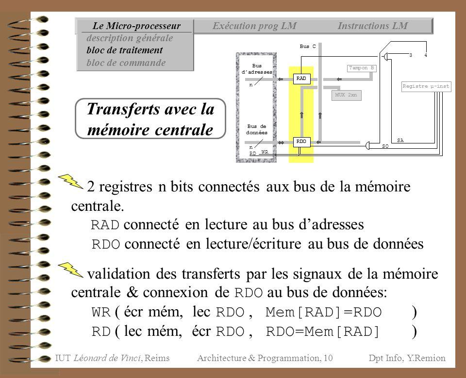 IUT Léonard de Vinci, ReimsDpt Info, Y.Remion Architecture & Programmation, 10 2 registres n bits connectés aux bus de la mémoire centrale. RAD connec