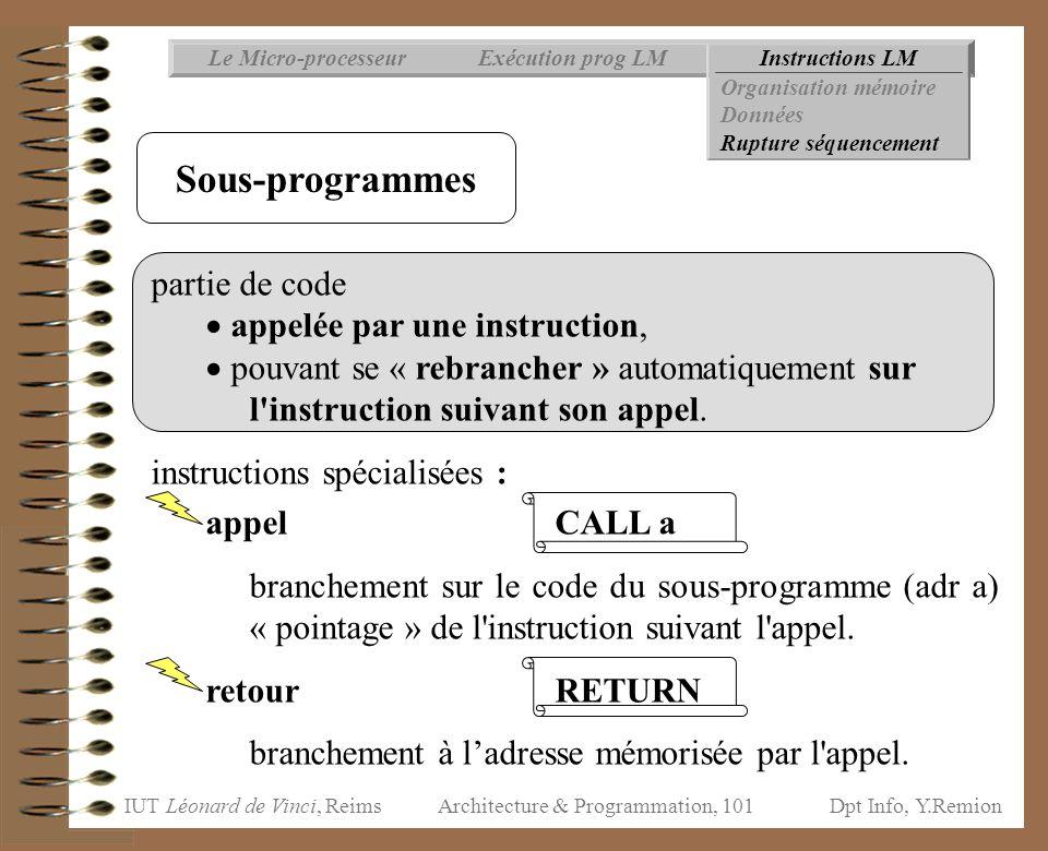 IUT Léonard de Vinci, ReimsDpt Info, Y.Remion Architecture & Programmation, 101 Instructions LMExécution prog LMLe Micro-processeur Organisation mémoi