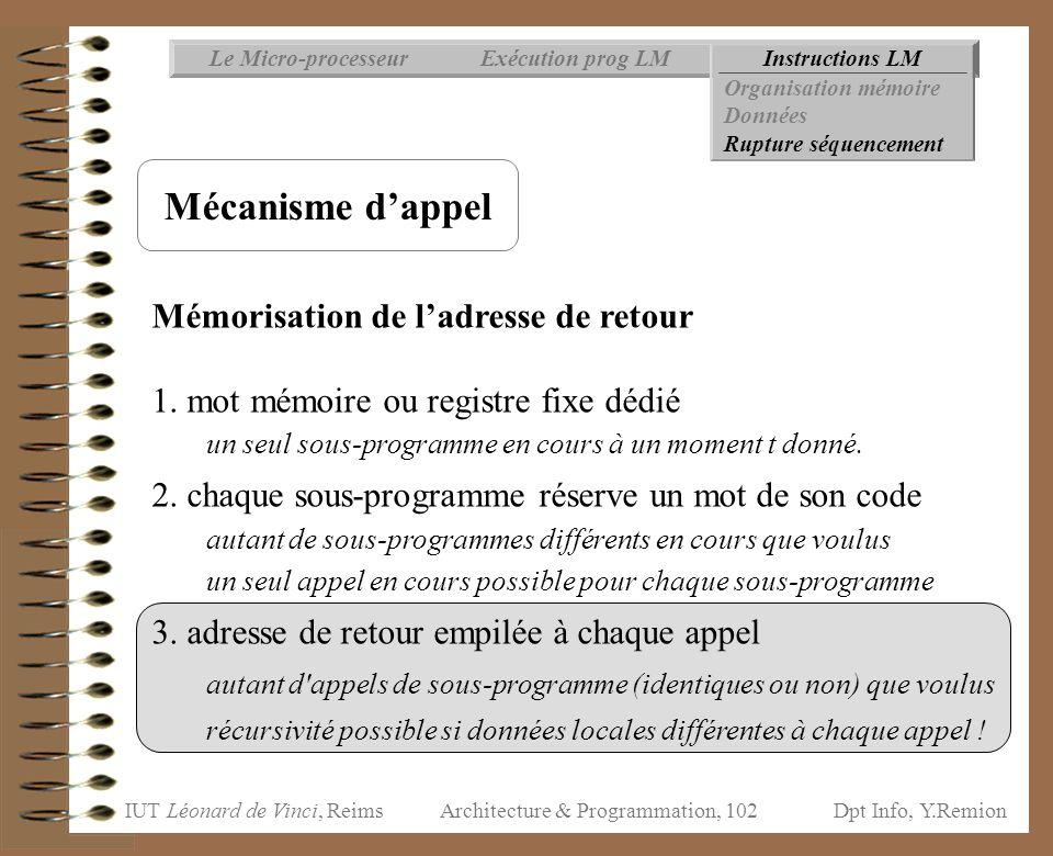 IUT Léonard de Vinci, ReimsDpt Info, Y.Remion Architecture & Programmation, 102 Instructions LMExécution prog LMLe Micro-processeur Organisation mémoi