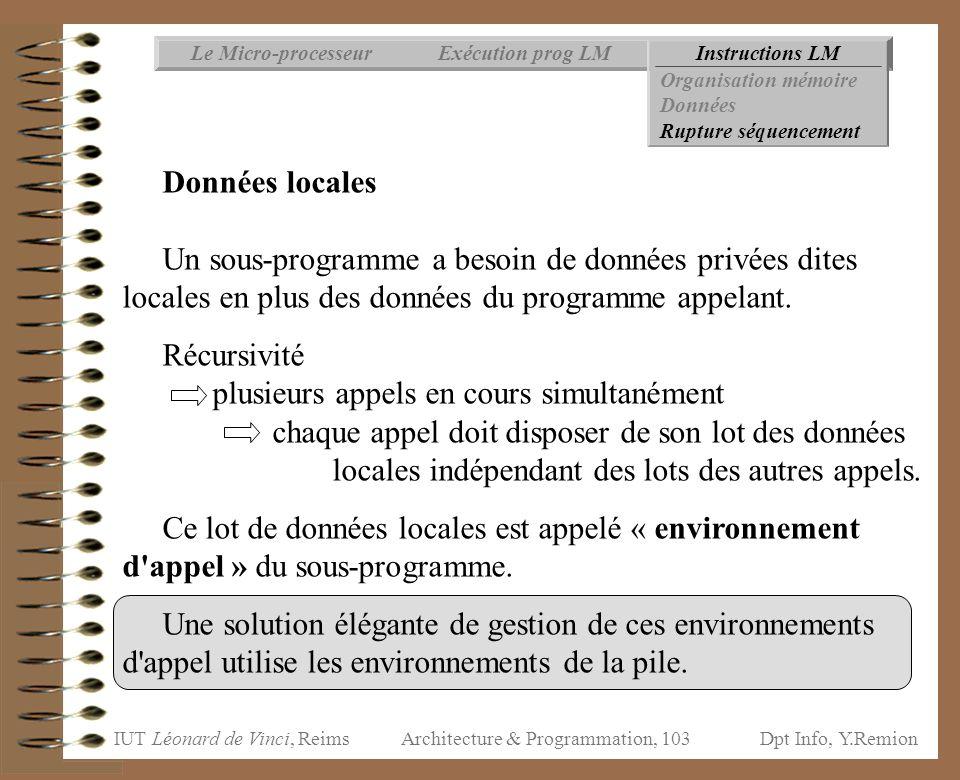 IUT Léonard de Vinci, ReimsDpt Info, Y.Remion Architecture & Programmation, 103 Instructions LMExécution prog LMLe Micro-processeur Organisation mémoi