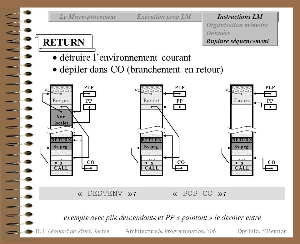 IUT Léonard de Vinci, ReimsDpt Info, Y.Remion Architecture & Programmation, 106 « DESTENV »; « POP CO »; Instructions LMExécution prog LMLe Micro-proc