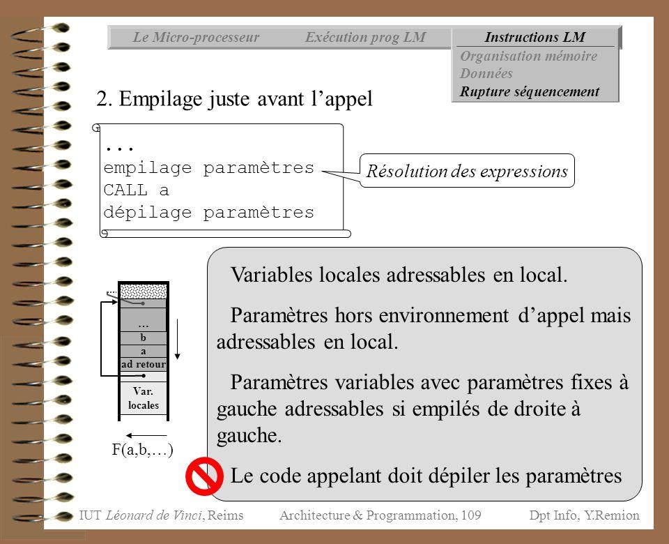 IUT Léonard de Vinci, ReimsDpt Info, Y.Remion Architecture & Programmation, 109 Instructions LMExécution prog LMLe Micro-processeur Organisation mémoi