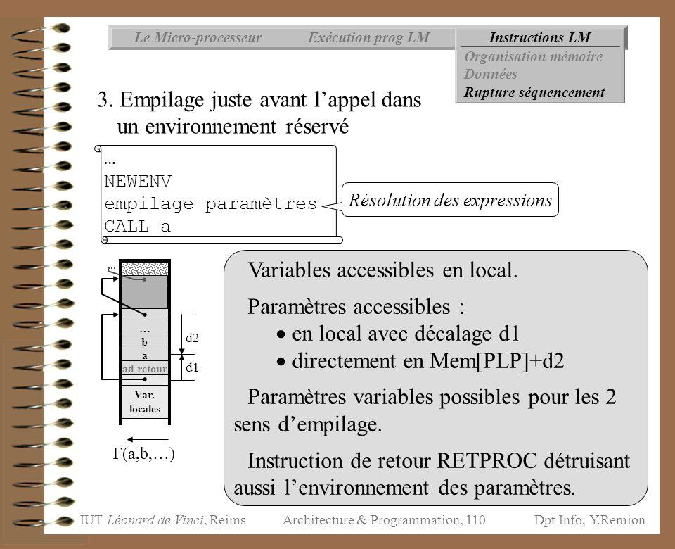 IUT Léonard de Vinci, ReimsDpt Info, Y.Remion Architecture & Programmation, 110 d1 Instructions LMExécution prog LMLe Micro-processeur Organisation mé