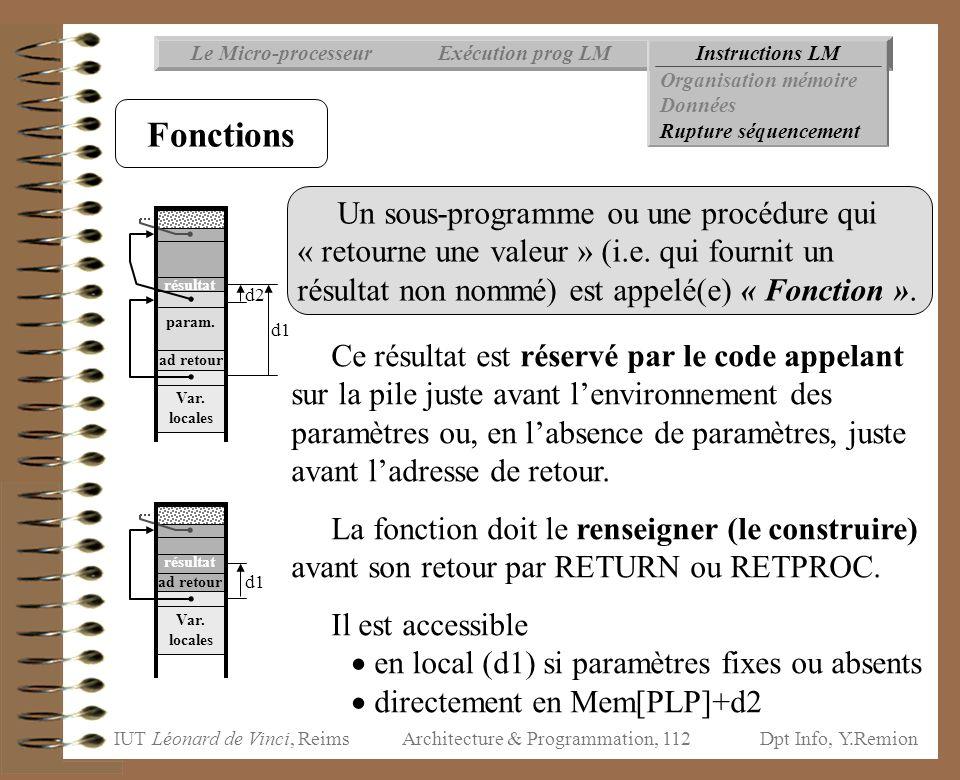 IUT Léonard de Vinci, ReimsDpt Info, Y.Remion Architecture & Programmation, 112 Un sous-programme ou une procédure qui « retourne une valeur » (i.e. q