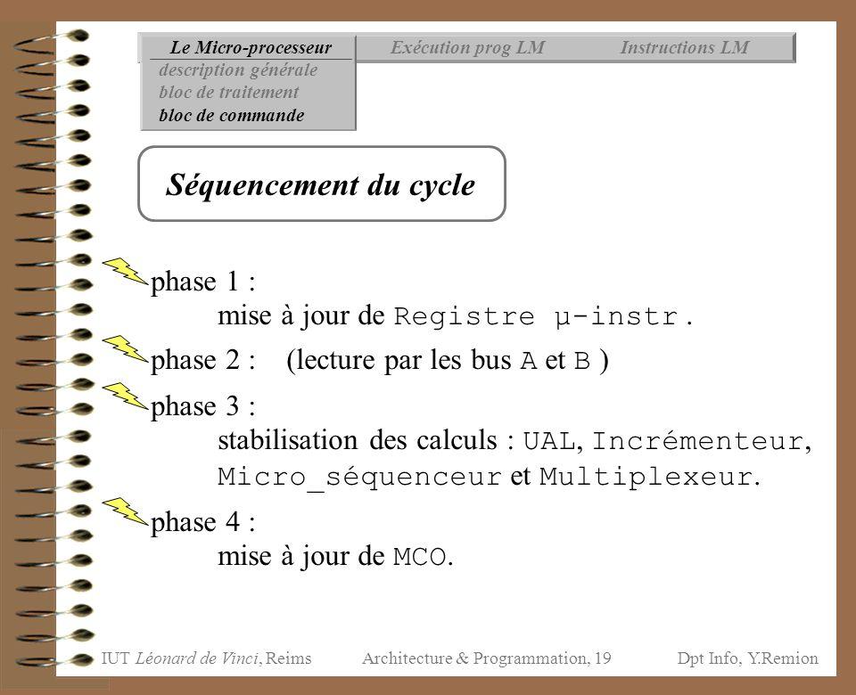 IUT Léonard de Vinci, ReimsDpt Info, Y.Remion Architecture & Programmation, 19 phase 1 : mise à jour de Registre µ-instr. phase 2 : (lecture par les b