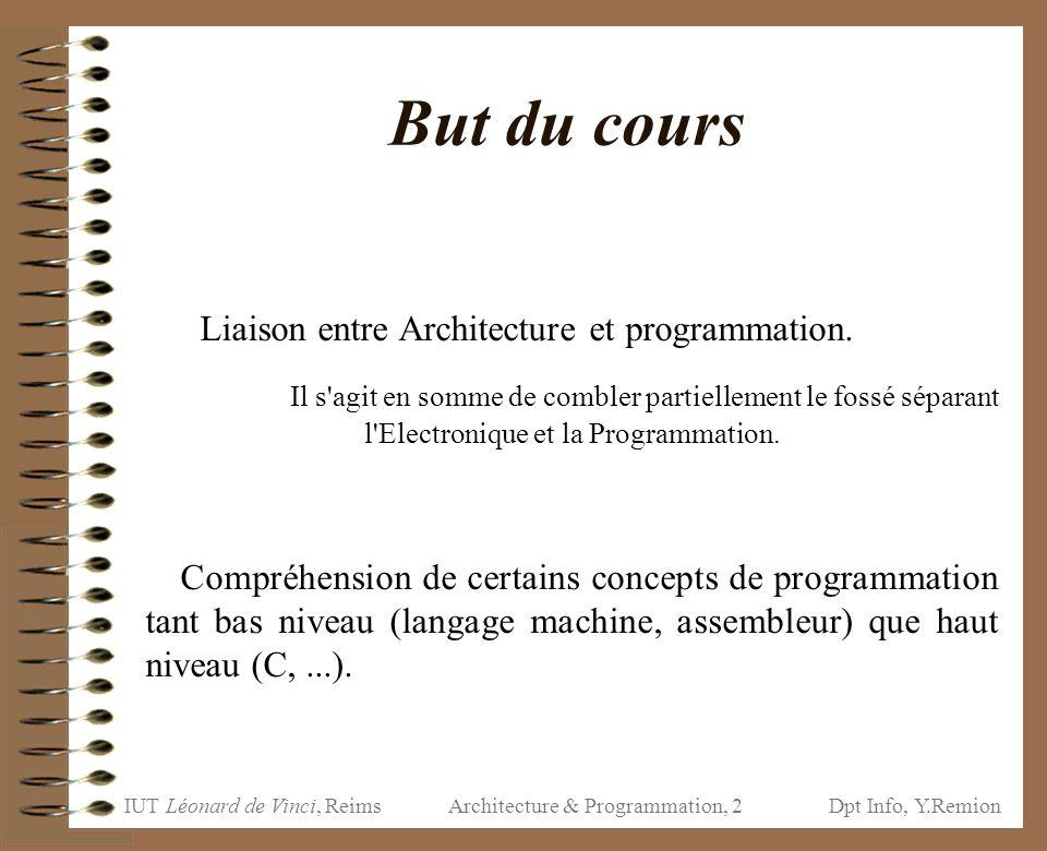 IUT Léonard de Vinci, ReimsDpt Info, Y.Remion Architecture & Programmation, 2 But du cours Liaison entre Architecture et programmation. Il s'agit en s