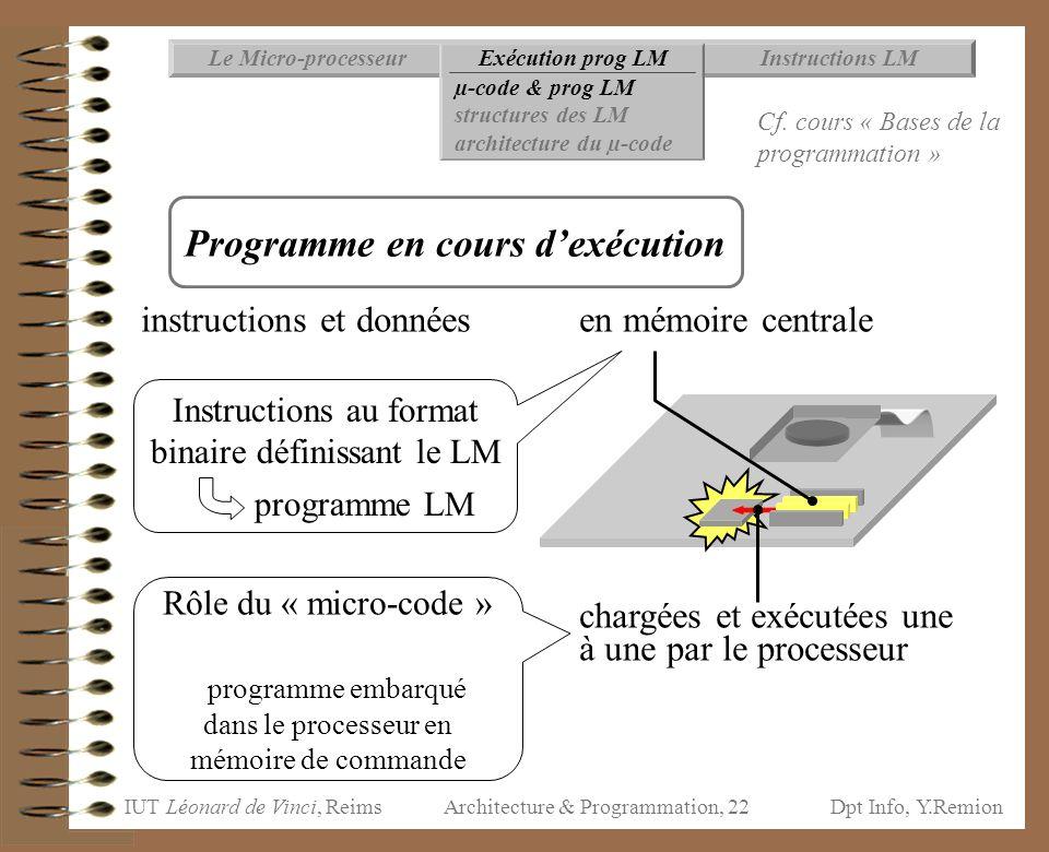 IUT Léonard de Vinci, ReimsDpt Info, Y.Remion Architecture & Programmation, 22 instructions et donnéesen mémoire centrale chargées et exécutées une à