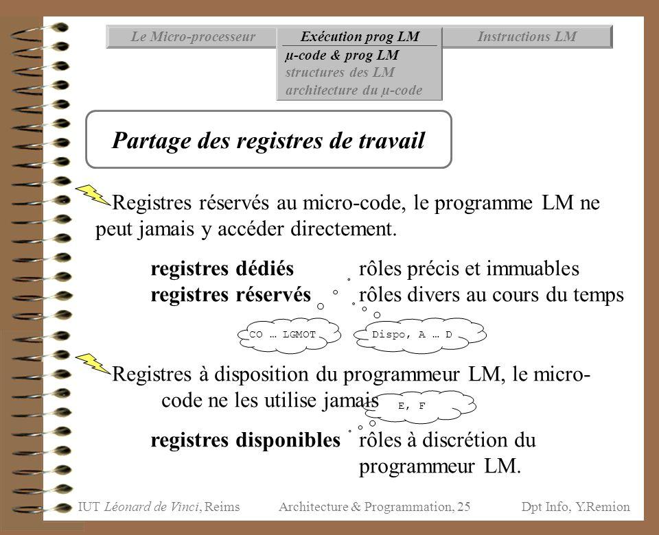 IUT Léonard de Vinci, ReimsDpt Info, Y.Remion Architecture & Programmation, 25 Instructions LMExécution prog LMLe Micro-processeur µ-code & prog LM st
