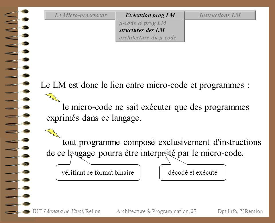 IUT Léonard de Vinci, ReimsDpt Info, Y.Remion Architecture & Programmation, 27 Le LM est donc le lien entre micro-code et programmes : le micro-code n