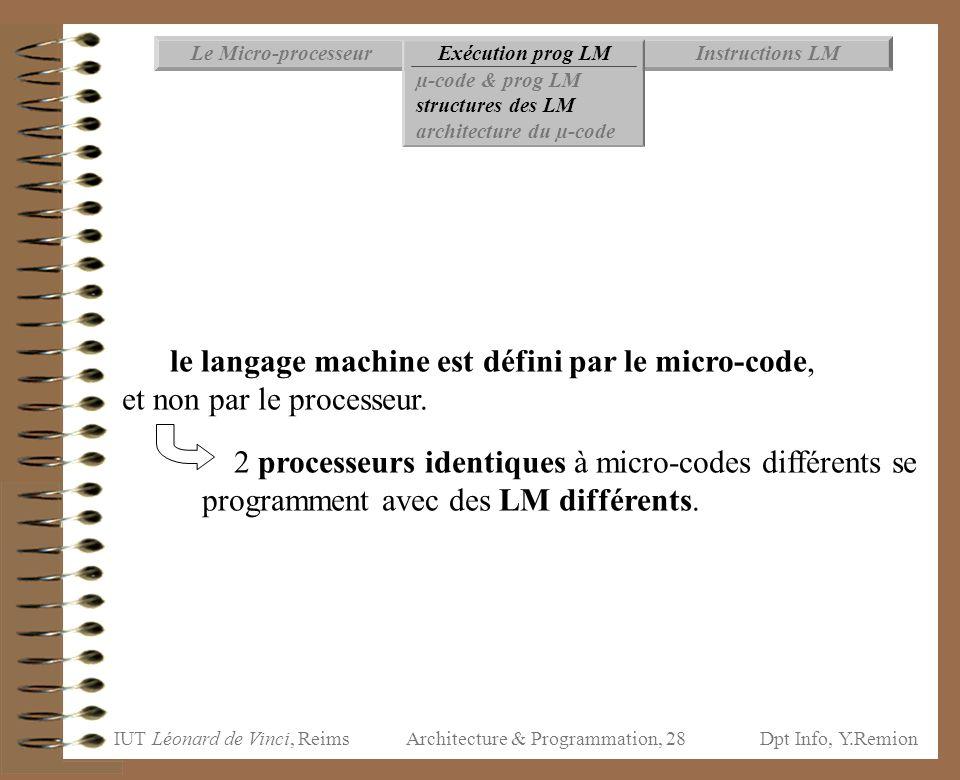 IUT Léonard de Vinci, ReimsDpt Info, Y.Remion Architecture & Programmation, 28 Instructions LMExécution prog LMLe Micro-processeur µ-code & prog LM st