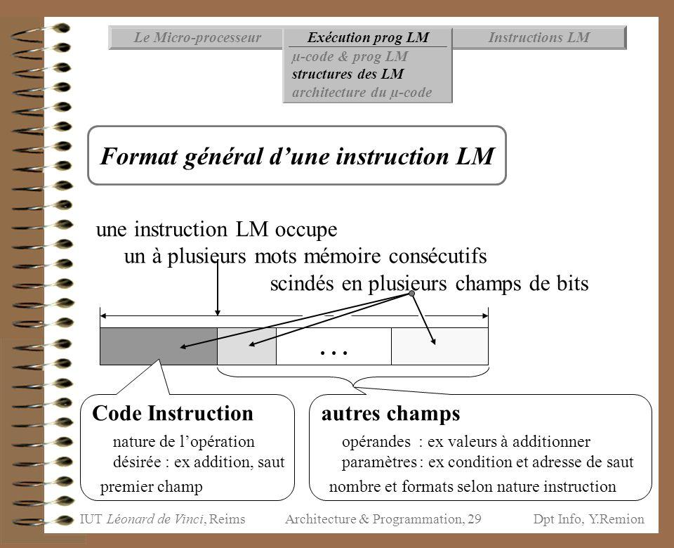 IUT Léonard de Vinci, ReimsDpt Info, Y.Remion Architecture & Programmation, 29 Instructions LMExécution prog LMLe Micro-processeur µ-code & prog LM st