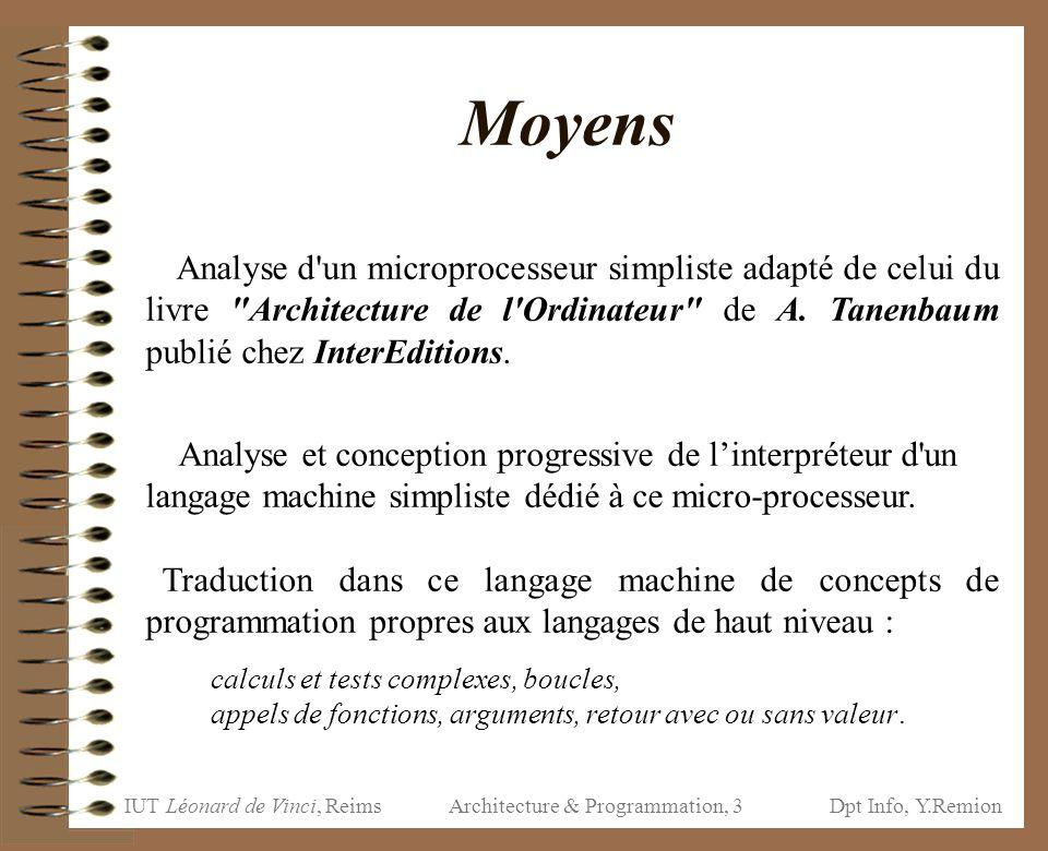 IUT Léonard de Vinci, ReimsDpt Info, Y.Remion Architecture & Programmation, 104 « PUSH CO … »; « NEWENV »; « GOTO a »; Mem[PP-=LGMOT]= CO // CO déjà incrémenté !.