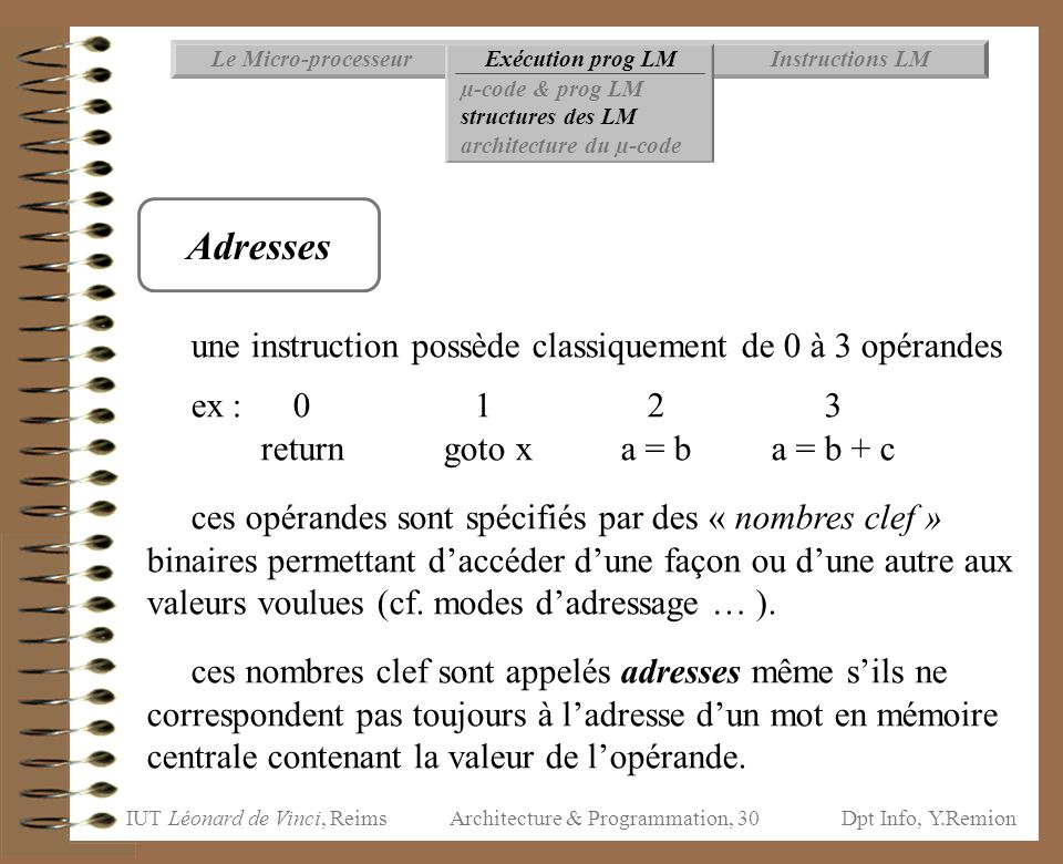 IUT Léonard de Vinci, ReimsDpt Info, Y.Remion Architecture & Programmation, 30 Instructions LMExécution prog LMLe Micro-processeur µ-code & prog LM st