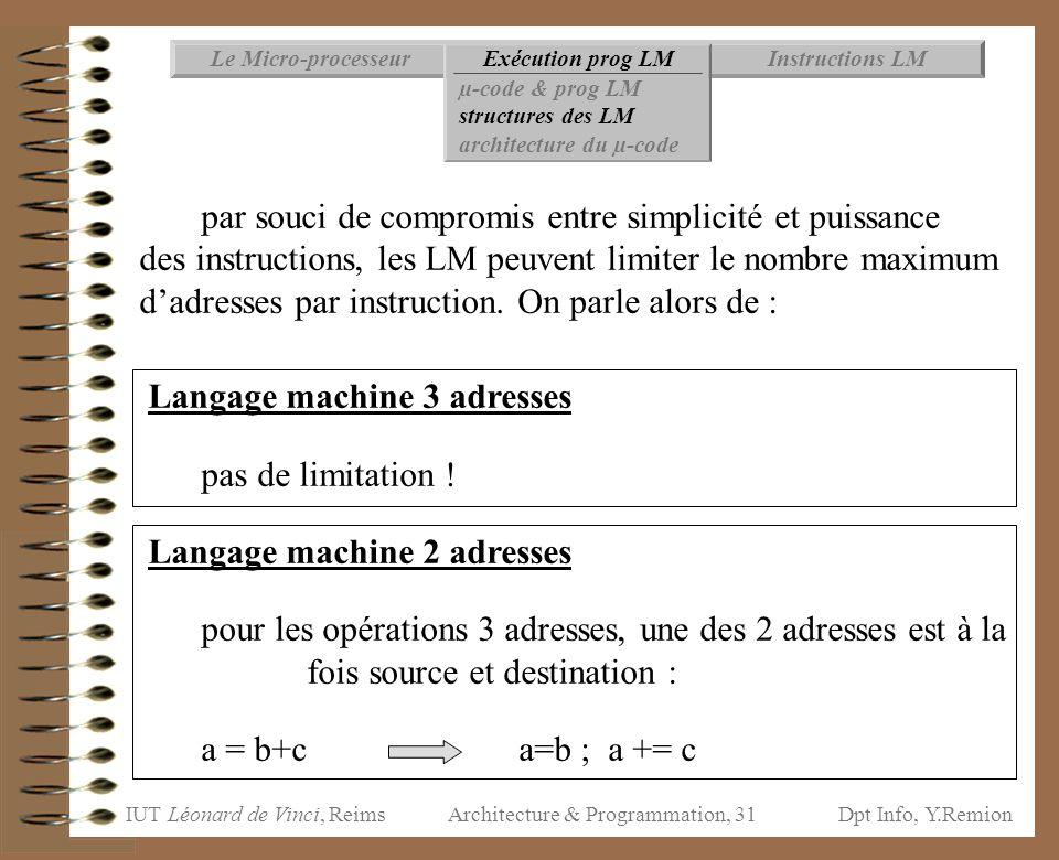 IUT Léonard de Vinci, ReimsDpt Info, Y.Remion Architecture & Programmation, 31 par souci de compromis entre simplicité et puissance des instructions,