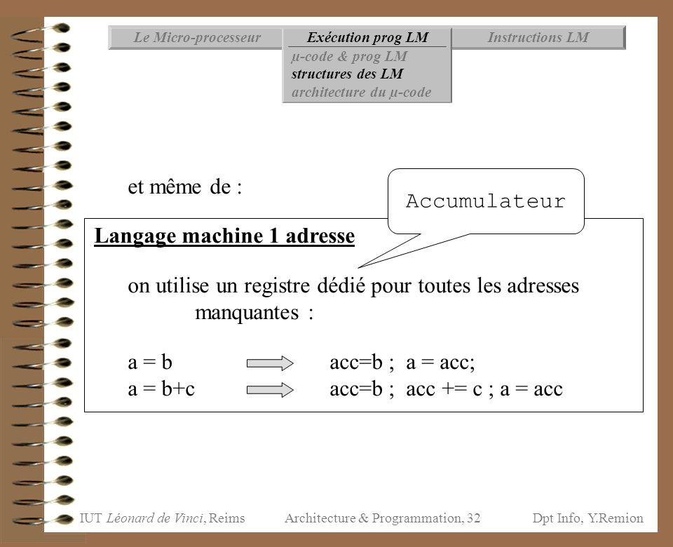 IUT Léonard de Vinci, ReimsDpt Info, Y.Remion Architecture & Programmation, 32 Instructions LMExécution prog LMLe Micro-processeur µ-code & prog LM st