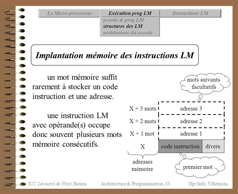 IUT Léonard de Vinci, ReimsDpt Info, Y.Remion Architecture & Programmation, 33 adresse 3 Instructions LMExécution prog LMLe Micro-processeur µ-code &