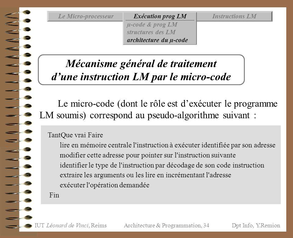 IUT Léonard de Vinci, ReimsDpt Info, Y.Remion Architecture & Programmation, 34 Instructions LMExécution prog LMLe Micro-processeur µ-code & prog LM st