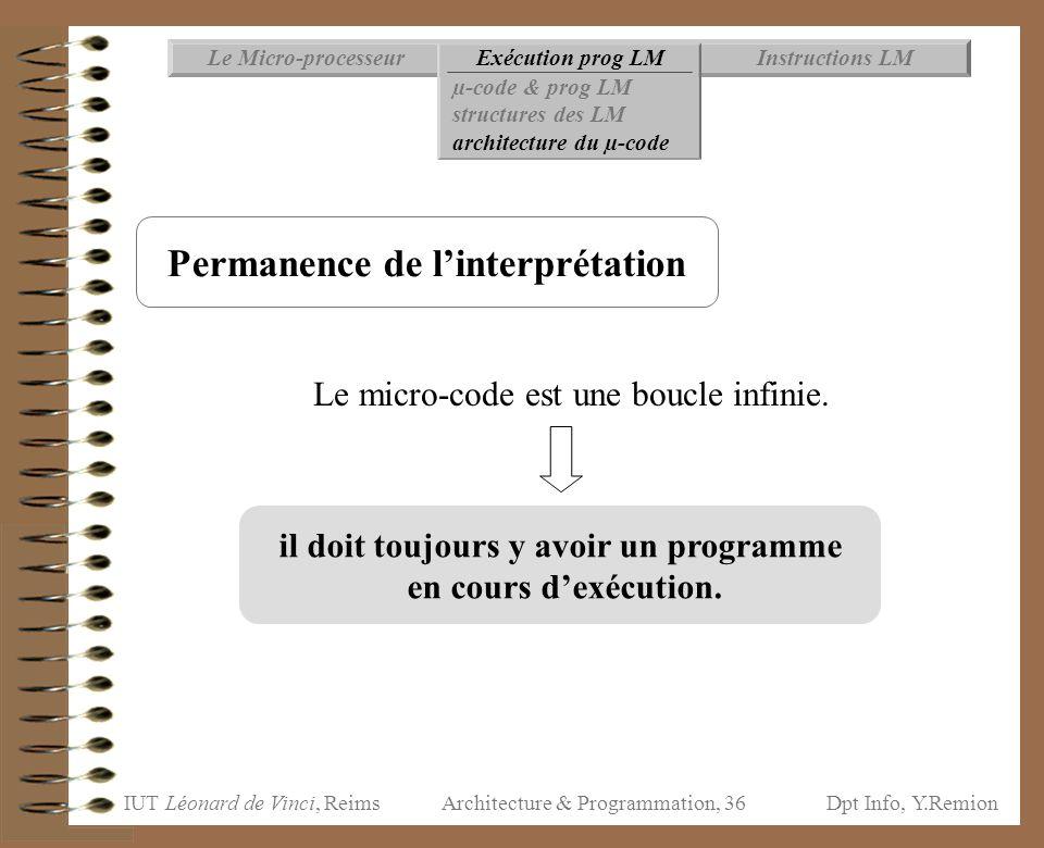 IUT Léonard de Vinci, ReimsDpt Info, Y.Remion Architecture & Programmation, 36 Instructions LMExécution prog LMLe Micro-processeur µ-code & prog LM st