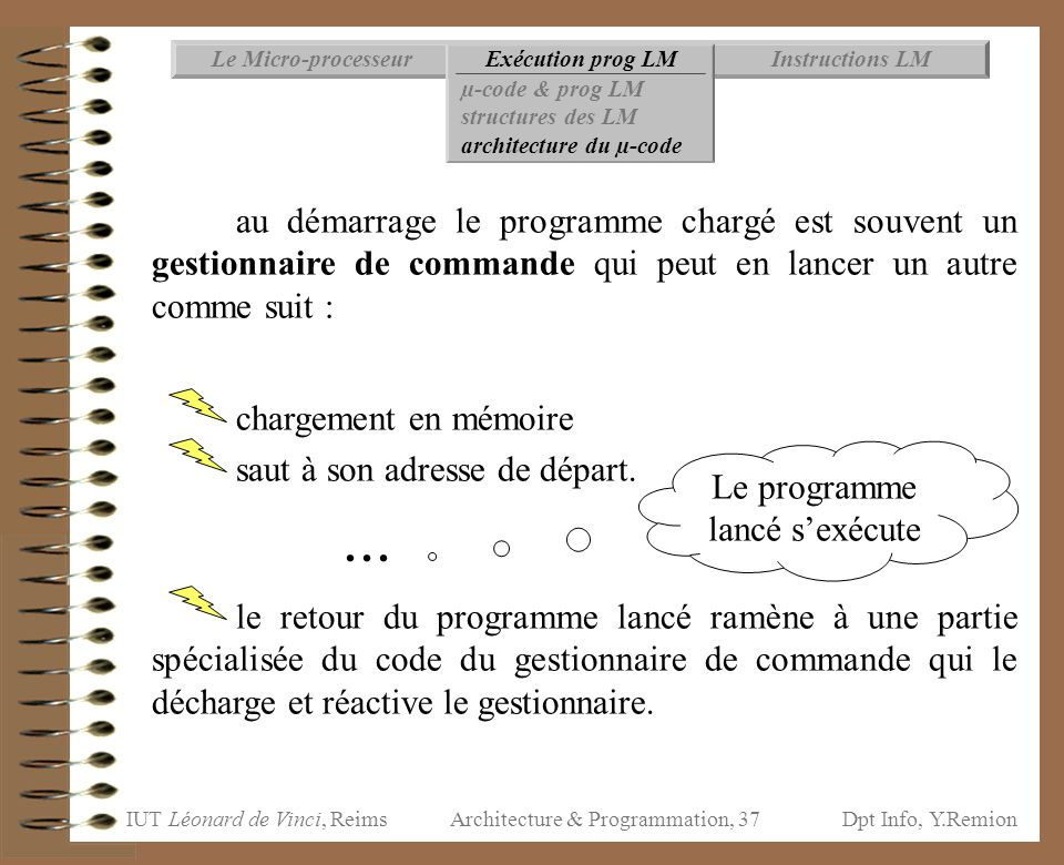 IUT Léonard de Vinci, ReimsDpt Info, Y.Remion Architecture & Programmation, 37 Instructions LMExécution prog LMLe Micro-processeur µ-code & prog LM st