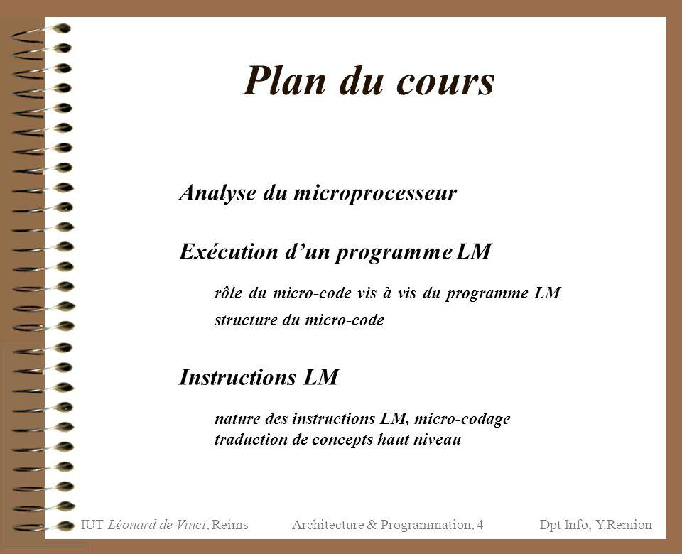 IUT Léonard de Vinci, ReimsDpt Info, Y.Remion Architecture & Programmation, 4 Plan du cours Analyse du microprocesseur Exécution d'un programme LM rôl