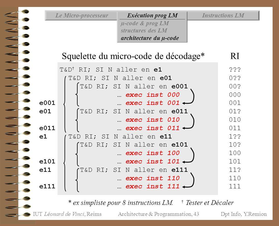 IUT Léonard de Vinci, ReimsDpt Info, Y.Remion Architecture & Programmation, 43 Instructions LMExécution prog LMLe Micro-processeur µ-code & prog LM st