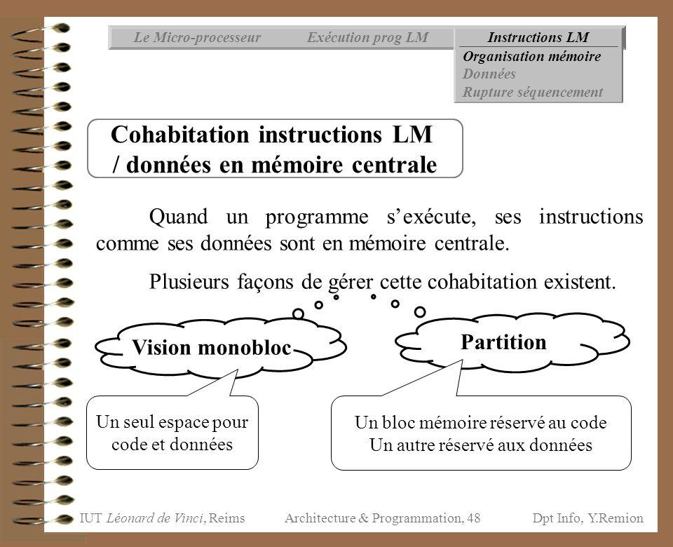 IUT Léonard de Vinci, ReimsDpt Info, Y.Remion Architecture & Programmation, 48 Instructions LMExécution prog LMLe Micro-processeur Organisation mémoir