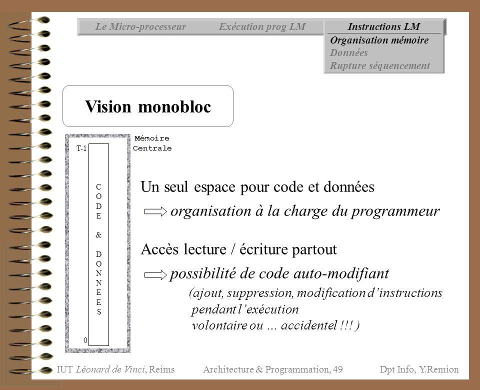 IUT Léonard de Vinci, ReimsDpt Info, Y.Remion Architecture & Programmation, 49 Instructions LMExécution prog LMLe Micro-processeur Organisation mémoir