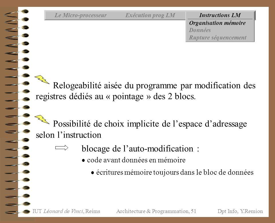 IUT Léonard de Vinci, ReimsDpt Info, Y.Remion Architecture & Programmation, 51 Instructions LMExécution prog LMLe Micro-processeur Organisation mémoir