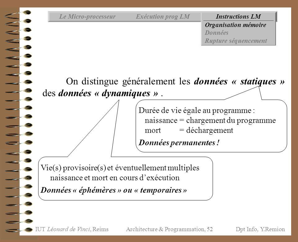 IUT Léonard de Vinci, ReimsDpt Info, Y.Remion Architecture & Programmation, 52 Instructions LMExécution prog LMLe Micro-processeur Organisation mémoir