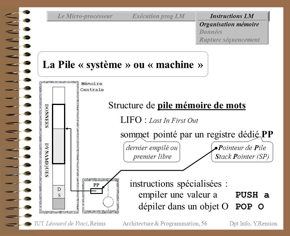 IUT Léonard de Vinci, ReimsDpt Info, Y.Remion Architecture & Programmation, 56 Instructions LMExécution prog LMLe Micro-processeur Organisation mémoir