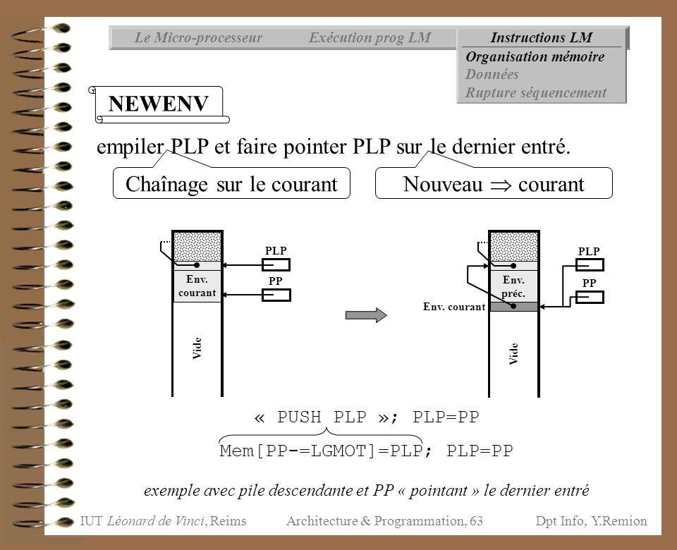 IUT Léonard de Vinci, ReimsDpt Info, Y.Remion Architecture & Programmation, 63 Instructions LMExécution prog LMLe Micro-processeur Organisation mémoir