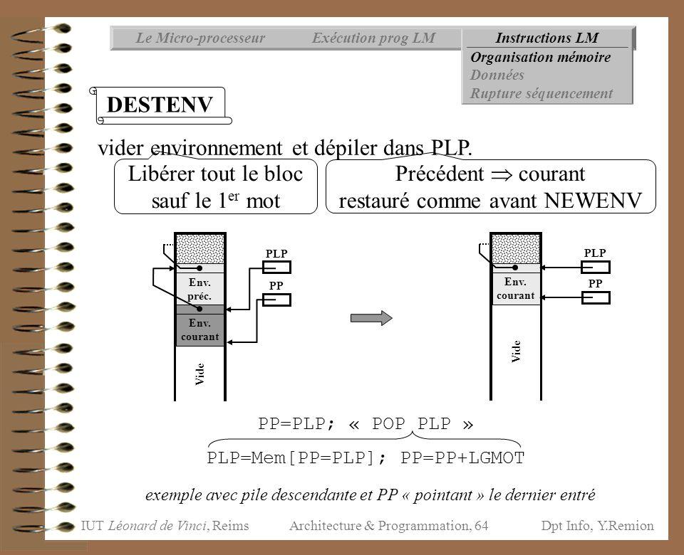 IUT Léonard de Vinci, ReimsDpt Info, Y.Remion Architecture & Programmation, 64 Instructions LMExécution prog LMLe Micro-processeur Organisation mémoir