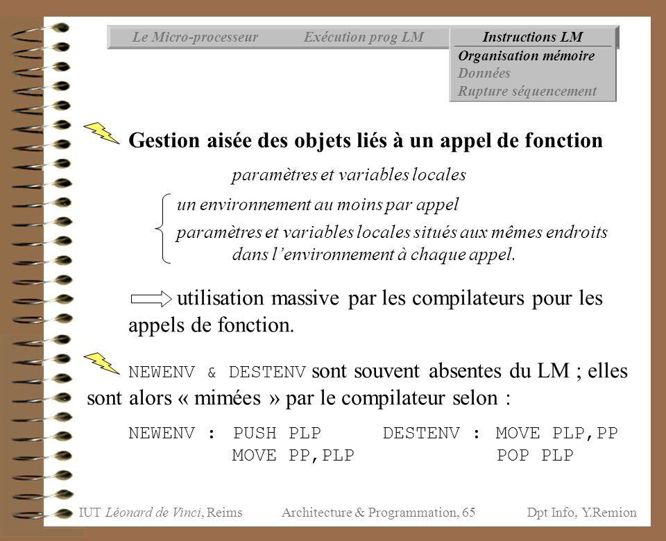 IUT Léonard de Vinci, ReimsDpt Info, Y.Remion Architecture & Programmation, 65 Instructions LMExécution prog LMLe Micro-processeur Organisation mémoir